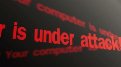 Warning, your computer is under attack. Hacker security system. Text running - stock footage