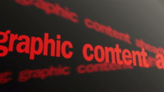 Warning, graphic content ahead. Violent content warning. Red text running Stock Footage
