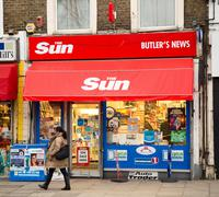 LONDON - JANUARY 27TH: The exterior of the Sun newsagent on January the 27th, Stock Photos