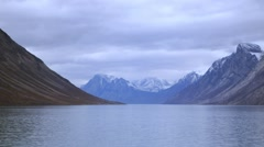 View of Fjord in Torngat Mountains, Newfoundland & Labrador. Stock Footage