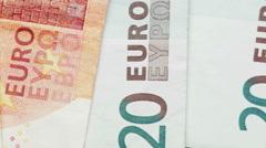 Euro Bills - Closeup Stock Footage