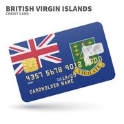 Credit card with British Virgin Islands flag background for bank, presentations - stock illustration
