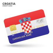 Credit card with Croatia flag background for bank, presentations and business - stock illustration