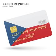 Credit card with Czech Republic flag background for bank, presentations and - stock illustration