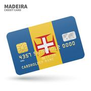 Credit card with Madeira flag background for bank, presentations and business Stock Illustration