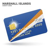 Credit card with Marshall Islands flag background for bank, presentations and Stock Illustration