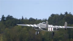 North American B-25 Mitchell Plane takes off from runway in Ottawa, Ontario. Stock Footage