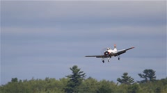 North American T-28 Trojan Plane approaches landing in Ottawa, Ontario. - stock footage