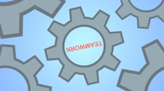 The concept of teamwork. Gears as a single mechanism - stock footage