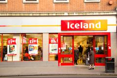 LONDON - JANUARY 23RD: The exterior of an Iceland supermarket on January  the Stock Photos