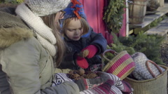 Little Boy Counts Pine Cones, Gives Them To His Mother To Hold Stock Footage