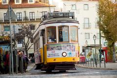 LISBON - JANUARY 9TH: An old traditional tram on January the 9th, 2015, in Li Stock Photos