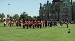 Marching band at Parliament Hill during the changing of the guard. - stock footage