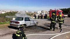 UMM EL FAHM, ISRAEL: Firefighters and paramedics rescue injured mannequin Stock Footage