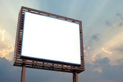 blank billboard for advertisement on beautiful sky background - stock photo