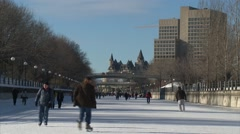 Stock Video Footage of Ontario, Ottawa, Skating on the Rideau Canal