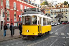 LISBON - JANUARY 9TH: An old traditional tram on January the 9th, 2015, in Li - stock photo