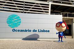LISBON, PORTUGAL- January 12th, 2015: The exterior of the aquarium in Lisbon  Stock Photos