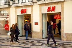 Stock Photo of LISBON, PORTUGAL- January 10th, 2015: The exterior of H&M in Lisbon on the 10