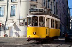 LISBON - JANUARY 11TH: An old traditional tram on January the 11th, 2015, in  - stock photo