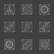 White line viruses and bacteria vector icons set Stock Illustration