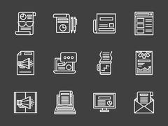 White line marketing vector icons set - stock illustration