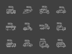 Sale vehicles white flat line vector icons set Stock Illustration