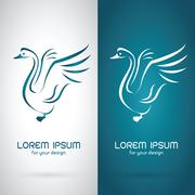 Vector image of an swan design on white background and blue background, Logo, Stock Illustration