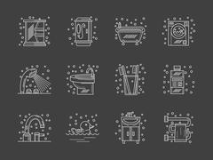 Stylish flat white line bathroom icons set Stock Illustration