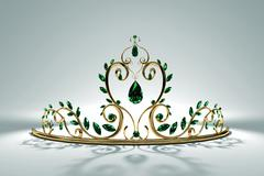 Prom Tiara - Emerald & Gold Stock Illustration