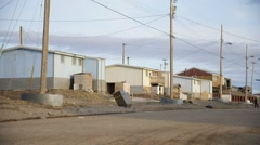 Dirt road in Pond Inlet, Nunavut. Pan Stock Footage