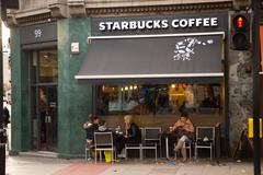 Stock Photo of LONDON - DECEMBER 11TH: The exterior of a starbucks coffee shop on December t