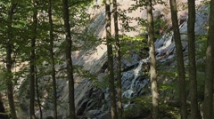 Small waterfall with trees in the foreground in Luskville Falls Trail, Gatineau. Stock Footage