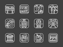 Passenger transportation white line vector icons - stock illustration