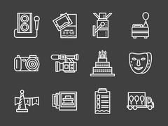 Stock Illustration of White line vector icons for party