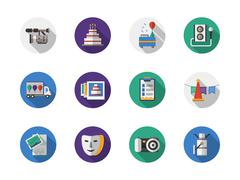 Party organization round flat color vector icons - stock illustration