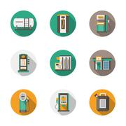 Round flat style gas station vector icons Stock Illustration