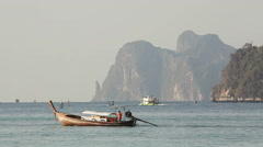 Boats Phi Phi Islands Sunrise Stock Footage