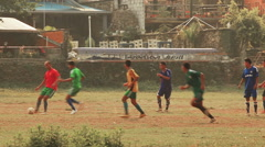 Playing Football Phewa Lake Nepal Stock Footage
