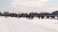 The Rideau canal filled with skaters during winterlude. - stock footage