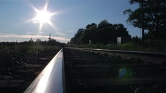 Sun reflecting off train tracks in Muskoka. Stock Footage