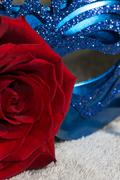 Blue carnaval mask with red rose - stock photo