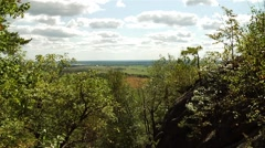 View of farmland from Gatineau hills on Luskville Falls Trail. Stock Footage
