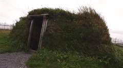 Early viking dwelling at L'Anse aux Meadows, in Newfoundland and Labrador. - stock footage