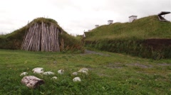 Early viking dwellings at LAnse aux Meadows, Newfoundland and Labrador. Pan Stock Footage