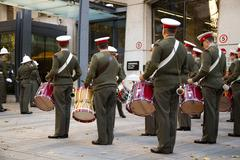 LONDON - OCTOBER 28TH: The royal marines on parade at the guildhall on Octobe Stock Photos