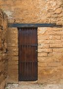 The wooden door in Chellah which is the world heritage in Rabat - stock photo