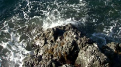 Waves crashing against the coast of the Pacific Ocean in Telegraph Cove. Stock Footage