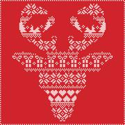 Winter pattern reindeer head frontal on red background - stock illustration