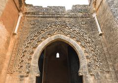 The gate of Chellah which is the world heritage in Rabat with blue sky - stock photo